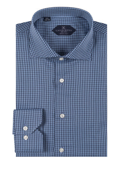Navy with Blue squares pattern shirt Dress Shirt, Regular Cuff, by Canaletto CNS119  Canaletto - Italian Suit Outlet