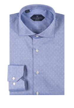 Jean blue with white dimond pattern shirt Dress Shirt, Regular Cuff, by Canaletto CNS125  Canaletto - Italian Suit Outlet