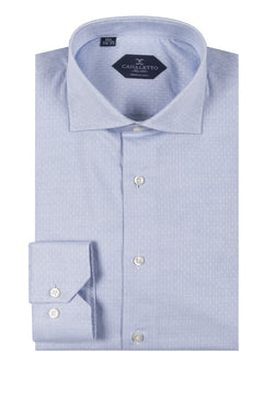 Light blue with white square pattern shirt Dress Shirt, Regular Cuff, by Canaletto CNS127  Canaletto - Italian Suit Outlet