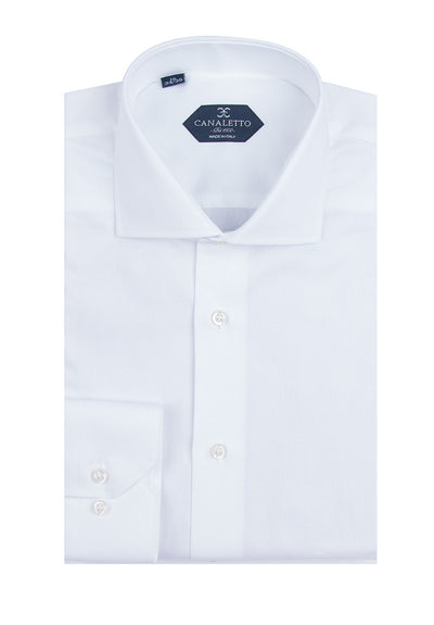 White Textured Dress Shirt, Regular Cuff, by Canaletto Cordoba 5010/8  Canaletto - Italian Suit Outlet
