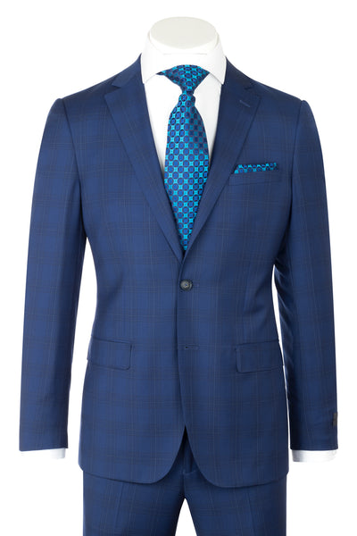 Porto Slim Fit, Cobalt Blue with windowpane, Pure Wool Suit by REDA Cloth by Canaletto Menswear CR141606/6  Canaletto - Italian Suit Outlet