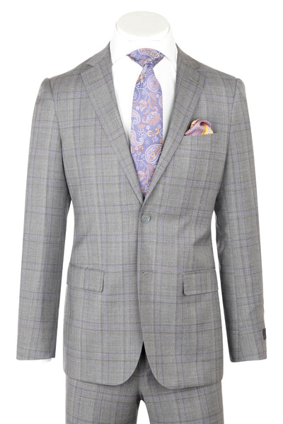 Porto Slim Fit, Medium Gray with Lavender windowpane, Pure Wool Suit by Reda Cloth by Canaletto Menswear CR141607/5  Canaletto - Italian Suit Outlet