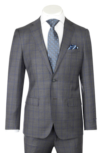 Dolcetto Modern Fit, Medium Gray with Blue windowpane, Pure Wool Suit by Reda Cloth by Canaletto Menswear CR188011/3  Canaletto - Italian Suit Outlet