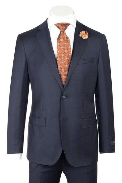 Porto Slim Fit, Navy with Copper windowpane, Pure Wool Suit by Reda Cloth by Canaletto Menswear CR188011/5  Canaletto - Italian Suit Outlet