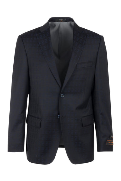 Dolcetto Dark Navy with dollar pattern Modern Fit, Pure Wool Jacket by Tiglio Luxe CR23410/3  Tiglio Luxe - Italian Suit Outlet