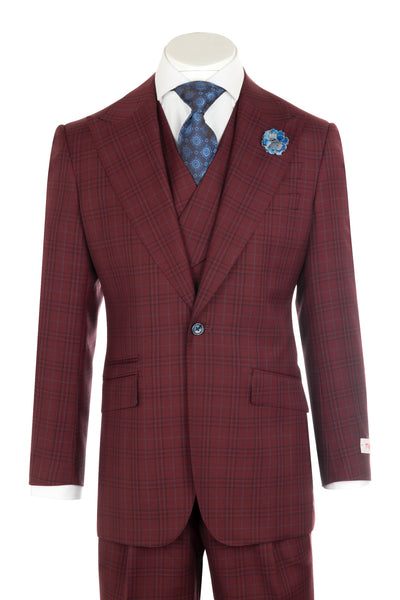 NEW ROSSO Bordeaux red with light blue checkered and black windowpane Wide Leg Pure Wool Suit & Vest by Tiglio Rosso CR74342/4  Tiglio - Italian Suit Outlet