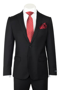 Dolcetto Modern Fit, Black, Pure Wool Suit by REDA Cloth by Canaletto Menswear CRS902  Canaletto - Italian Suit Outlet