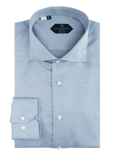 Blue Nail-Head Dress Shirt, Regular Cuff, by Canaletto CS1033  Canaletto - Italian Suit Outlet