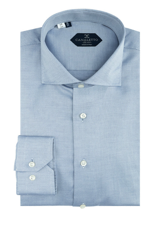 Blue Nail-Head Dress Shirt, Regular Cuff, by Canaletto  Canaletto - Italian Suit Outlet