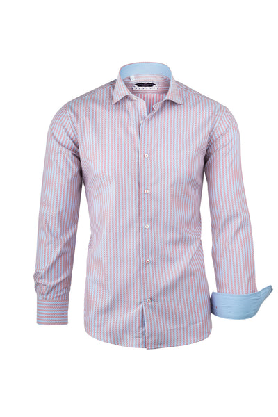 Pink and Light Blue Stripe with Jacquard Overlay Pattern  Italian Pure Cotton Sport Shirt by Canaletto Menswear CS1035  Canaletto - Italian Suit Outlet