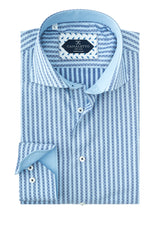 Navy and Light Blue Stripe with Jacquard Overlay Pattern Italian Pure Cotton Sport Shirt by Canaletto Menswear CS1036  Canaletto - Italian Suit Outlet