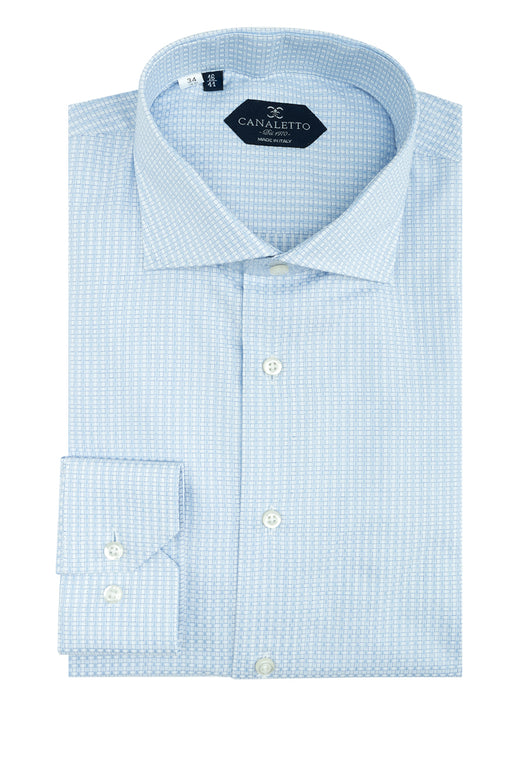 White with Blue Pattern Dress Shirt, Regular Cuff, by Canaletto CS1039