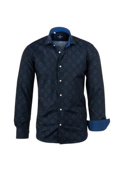 Navy with Lighter Blue Bubble Like Pattern Italian Pure Cotton Sport Shirt by Canaletto Menswear CS1040  Canaletto - Italian Suit Outlet