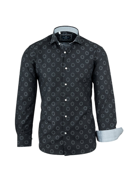 Black with Light Gray Bubble Like Pattern Italian Pure Cotton Sport Shirt by Canaletto Menswear CS1041  Canaletto - Italian Suit Outlet