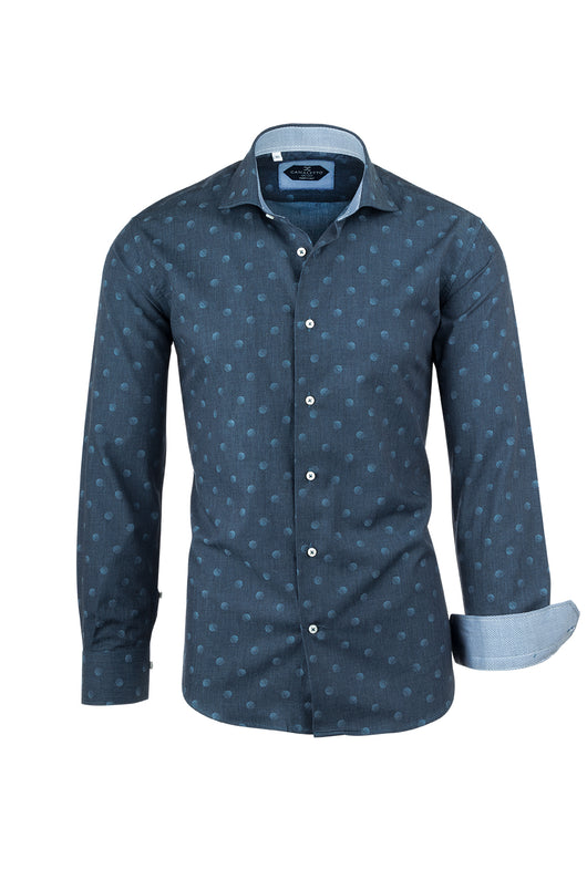 Medium Blue with Light Blue Polka-Dot Pattern Italian Pure Cotton Sport Shirt by Canaletto CS1042  Canaletto - Italian Suit Outlet