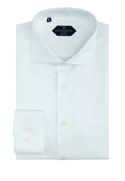 White Patterned Dress Shirt, Regular Cuff, by Canaletto CS1045  Canaletto - Italian Suit Outlet