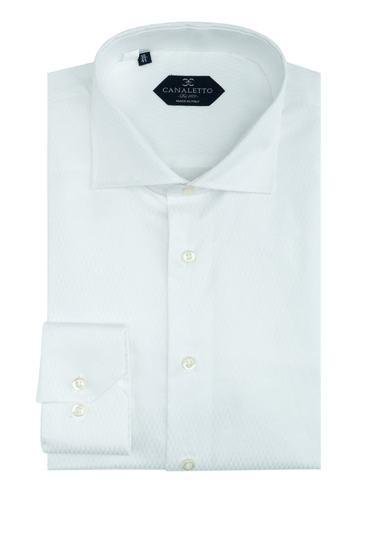 White Patterned Dress Shirt, Regular Cuff, by Canaletto CS1045