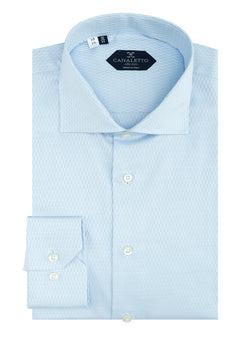 Light Blue Patterned Dress Shirt, Regular Cuff, by Canaletto  Canaletto - Italian Suit Outlet