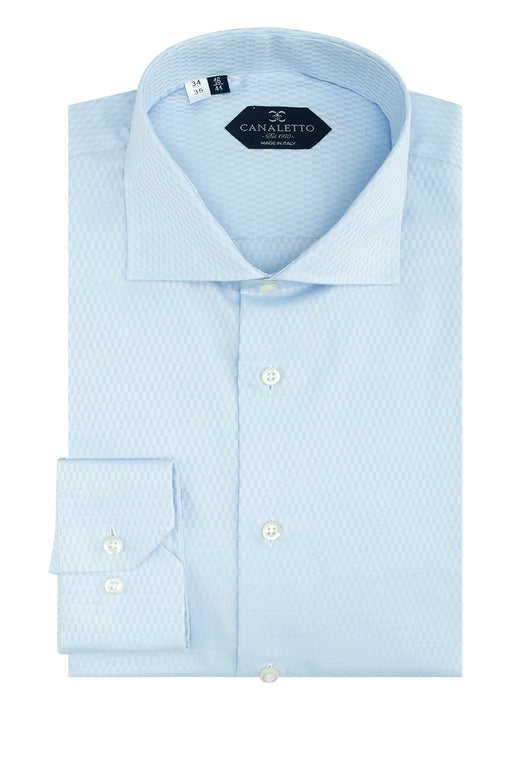 Light Blue Patterned Dress Shirt, Regular Cuff, by Canaletto CS1046  Canaletto - Italian Suit Outlet