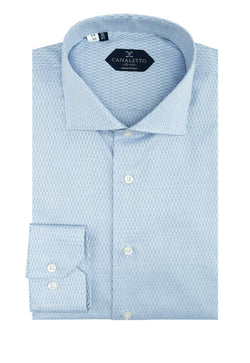 Medium Blue Patterned Dress Shirt, Regular Cuff, by Canaletto  Canaletto - Italian Suit Outlet