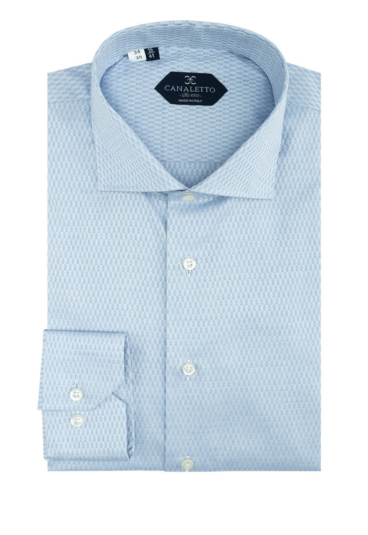 Medium Blue Patterned Dress Shirt, Regular Cuff, by Canaletto CS1047  Canaletto - Italian Suit Outlet