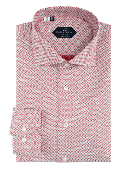 White with Red Chain-Link Pattern Dress Shirt, Regular Cuff, by Canaletto CS1048  Canaletto - Italian Suit Outlet