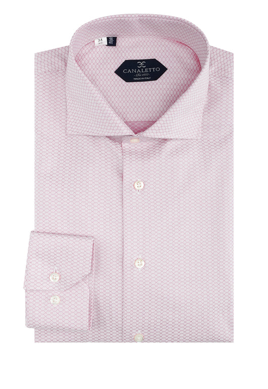 Light Pink with Darker Pink Chain-link Pattern Dress Shirt, Regular Cuff, by Canaletto  Canaletto - Italian Suit Outlet