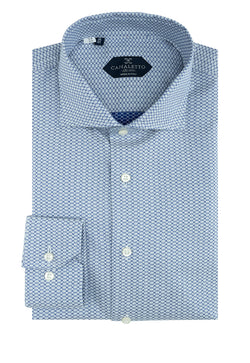 Gray with Navy Blue Chain-Link Pattern Dress Shirt, Regular Cuff, by Canaletto  Canaletto - Italian Suit Outlet