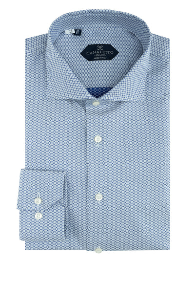Gray with Navy Blue Chain-Link Pattern Dress Shirt, Regular Cuff, by Canaletto CS1050  Canaletto - Italian Suit Outlet