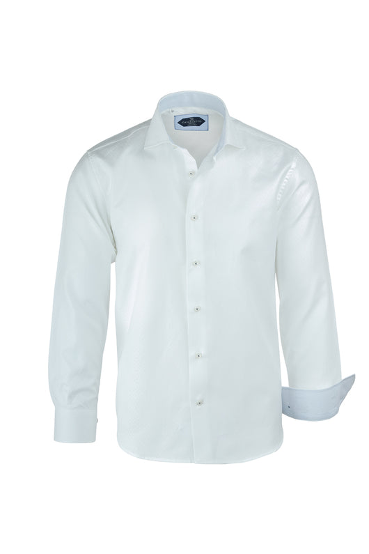 White with White Geometric Pattern Italian Pure Cotton Sport Shirt by Canaletto Menswear CS1051