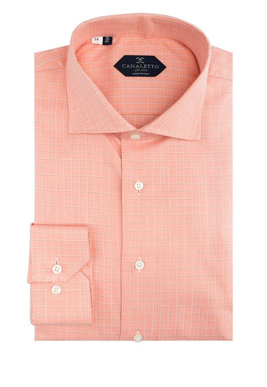 Orange Windowpane Pattern Dress Shirt, Regular Cuff, by Canaletto CS1054  Canaletto - Italian Suit Outlet