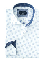 White with Blue Polka-Dot Pattern Italian Pure Cotton Sport Shirt by Canaletto Menswear CS1061  Canaletto - Italian Suit Outlet