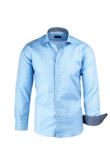 Light Blue with Light and Medium Blue Polka-Dots Italian Pure Cotton Sport Shirt by Canaletto Menswear CS1062  Canaletto - Italian Suit Outlet