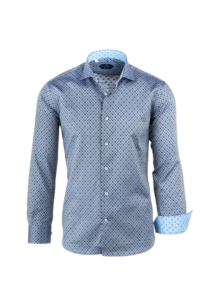 Gray with Blue and Black Polka-Dots Italian Pure Cotton Sport Shirt by Canaletto Menswear CS1063  Canaletto - Italian Suit Outlet