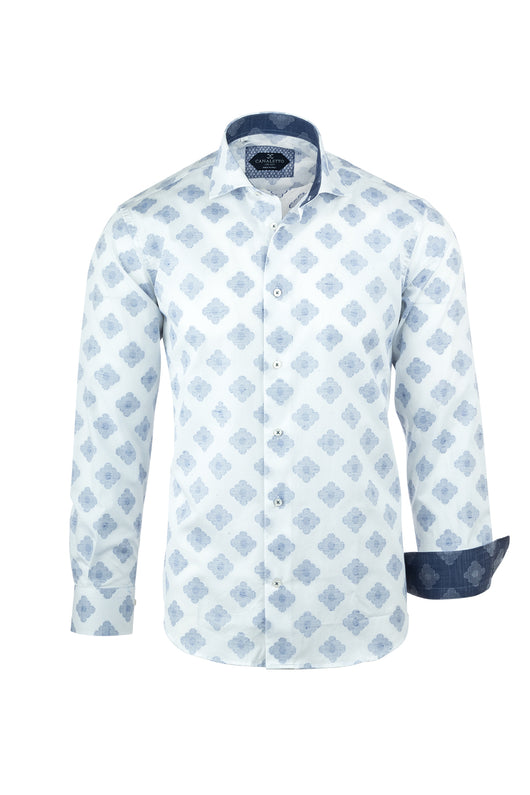 White with Navy Blue Flower-Like Pattern Italian Pure Cotton Sport Shirt by Canaletto Menswear CS1065