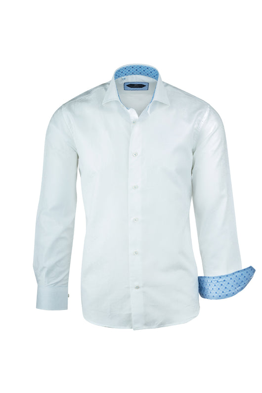 White with White Paisley Pattern Italian Pure Cotton Sport Shirt by Canaletto Menswear CS1068