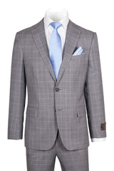 Dolcetto Modern Fit, Gray Houndstooth with Blue windowpane, Pure Wool Suit by VITALE BARBERS CANONICO Cloth by Canaletto Menswear CV27.828/1  Canaletto - Italian Suit Outlet