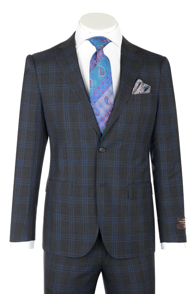 Porto Slim Fit, Charcoal Gray With Blue Stripe, Pure Wool Suit by VITALE BARBERS CANONICO Cloth by Canaletto Menswear CV40.7124/1  Canaletto - Italian Suit Outlet
