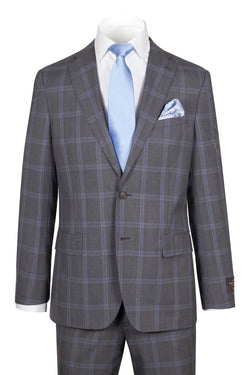 Dolcetto Modern Fit,Gray with Light blue windowpane, Pure Wool Suit by VITALE BARBERS CANONICO Cloth by Canaletto Menswear CV40.9125/2  Canaletto - Italian Suit Outlet