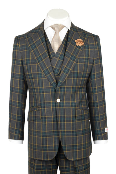NEW ROSSO Green checkered and yellow windowpane Wide Leg Pure Wool Suit & Vest by Tiglio Rosso CV47.864/1  Tiglio - Italian Suit Outlet