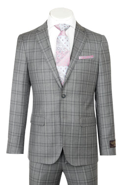 PORTO Slim Fit, Gray with Light Gray windowpane, Pure Wool Suit by VITALE BARBERS CANONICO Cloth by Canaletto Menswear CV86.7634/2  Canaletto - Italian Suit Outlet