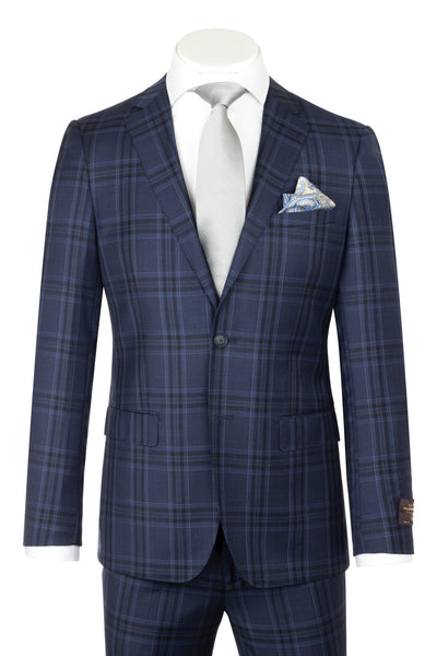DOLCETTO Modern Fit, New Blue with Black & White stripe windowpane, Pure Wool Suit by VITALE BARBERS CANONICO Cloth by Canaletto Menswear CV86.7651/2  Canaletto - Italian Suit Outlet