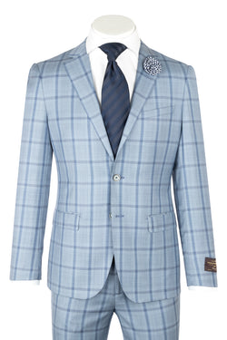 PORTO Slim Fit, Light Blue with Navy windowpane, Pure Wool Suit by VITALE BARBERS CANONICO Cloth by Canaletto Menswear CV86.7656/2  Canaletto - Italian Suit Outlet