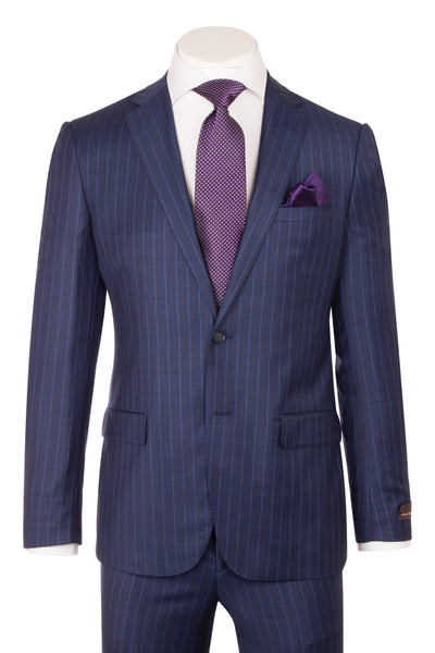 Porto Slim Fit, New Blue with F.Blue Pinstripe, Pure Wool Suit by VITALE BARBERS CANONICO Cloth by Canaletto Menswear CV9210  Canaletto - Italian Suit Outlet