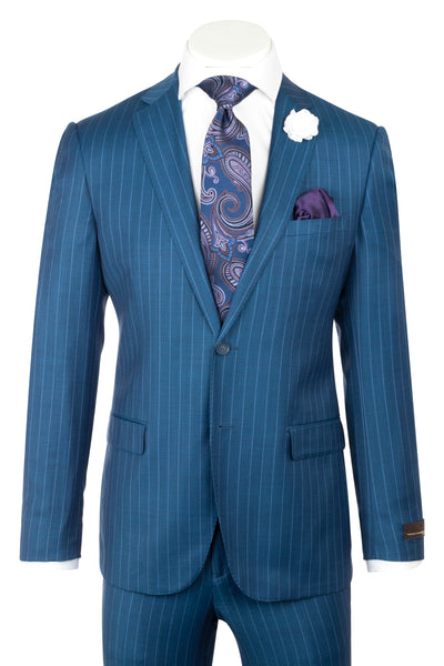 Porto Slim Fit, Teal Blue with stripe, Pure Wool Suit by VITALE BARBERIS CANONICO Cloth by Canaletto Menswear CV9211  Canaletto - Italian Suit Outlet