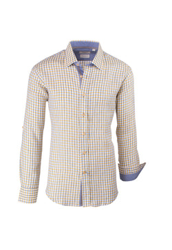 Checkered Gray and Yellow Linen Modern Fit Sport Shirt by Tiglio Sport DES/0319/005  Tiglio - Italian Suit Outlet