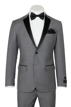 Tiglio Luxe Sienna, Slim Fit, Ash Gray, Pure Wool Tuxedo E09063/26  Tiglio Luxe - Italian Suit Outlet