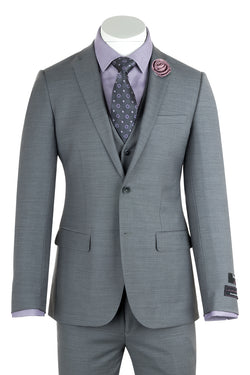 Sienna Light Grey Slim Fit, Pure Wool Suit & Vest by Tiglio Luxe E09063/26  Tiglio - Italian Suit Outlet
