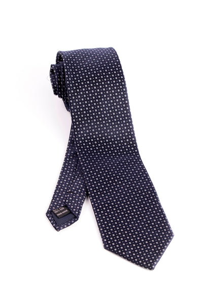 Pure Silk Navy with White Circles and Dots Tie by Tiglio Luxe  Tiglio - Italian Suit Outlet