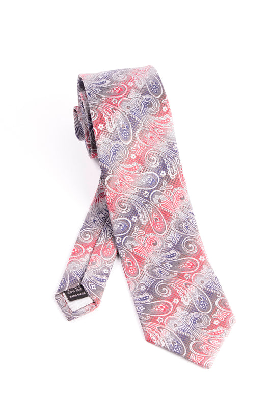 Pure Silk Silver, Red and Blue with Paisley Pattern Tie by Tiglio Luxe